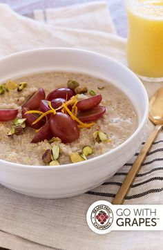 Quinoa Breakfast Cereal with Grapes and Pistachios Quinoa Breakfast, Breakfast Cereal, Breakfast Recipes, Quinoa Cereal, Grape Recipes, Healthy Food, Healthy Recipes, Brunch Menu, Orange Zest