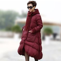 Fashion Solid colors (2) knee-length Long women jackets Fur hoodies snow parkas for women's duck down winter coat for female