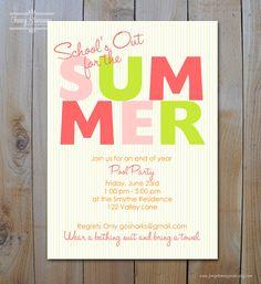 Pool Party Invitation Pool Party Invitations, Printable Invitations, Invites, School Parties, Summer Parties, Summer Kids, Summer Birthday, 10th Birthday, Big Party