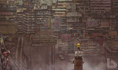 DeviantArt's shares a cyberpunk, sci-fi vision of the future. His work includes an clear nod to Hong Kong's high-density architecture and the dystopian Kowloon Walled City. Sf Wallpaper, Wallpaper Keren, Windows Wallpaper, Arte Cyberpunk, Cyberpunk Anime, Cyberpunk Aesthetic, Matte Painting, Dystopian Art, Dystopian Future