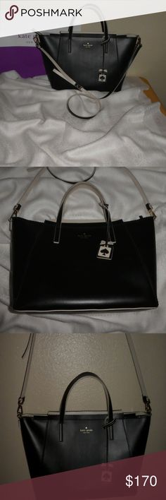 """NWOT!  kate spade ivy drive small """"loryn"""" handbag! LAST PRICE DROP!!! NWOT! Never carried!  This loryn bag, is black with a very light gray/tan colored accent on the hangtag charm, inside of handles, crossbody strap, and the interior. 100% cowhide leather.  SIZE 7.7"""" h x 10.8""""w x 4.7""""d drop length: 3.5"""" handheld strap length: 43.3""""  MATERIAL resin backed vachetta split unlined leather 14-karat light gold plated hardware style # wkru3239 kate spade Bags Totes"""