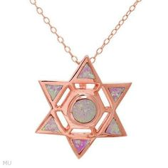 OPAL STAR NECKLACE CRAFTED IN 14K ROSE GOLD OVER SOLID .925 STERLING SILVER - Necklaces & Pendants