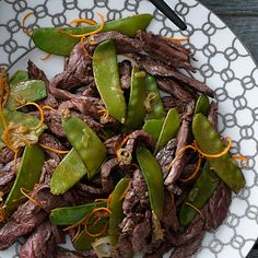 Tangerine Beef with Snow Peas:  For a dinner that's under 250 calories per serving, this zesty tangerine beef meal is packed with protein to keep you full and satisfied. | Health.com