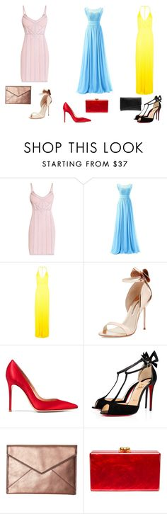 """""""Pateles"""" by espejo-diana on Polyvore featuring moda, Hervé Léger, Boohoo, Sophia Webster, Gianvito Rossi, Christian Louboutin, Rebecca Minkoff, Edie Parker y Witchery"""