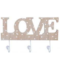 wieszak drewniany love w kropki