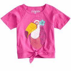 Toucan Fun Graphic Tee. Fun toucan graphic hem tie tee in pink.