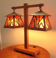 James Mattson Coppercraft - Cattails Table Lamp (1/1)  - One of James' very first lamps - from the 1990's - Craftsman - Mission - lighting