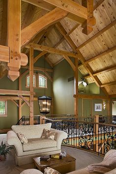 Interior photo of a douglas fir custom Woodhouse timber frame home