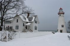 Marblehead Lighthouse in the winter Marblehead Ohio, Marblehead Lighthouse, Lakeside Ohio, Lake Erie Ohio, Winter Scenes, Snow Scenes, Winter Wonder, Travel Usa, Places To Go