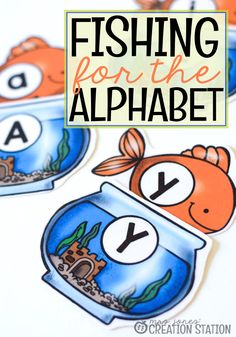 Mrs.Jones' Cration Station - Alphabet Letter Identification Fishing for the Alphabet Game (Free Printable included)