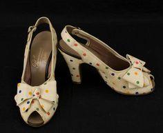 Fabulously cute 1930s multi-coloured polka dot heels. #vintage #1930s #shoes