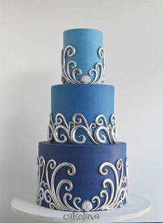 silver waves on ombre blue wedding cake by Rick Reichart, cakelava (scheduled via http://www.tailwindapp.com?utm_source=pinterest&utm_medium=twpin&utm_content=post7345232&utm_campaign=scheduler_attribution)