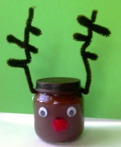 my girls would love this!!Jar reindeer - I'd use a jam jar and make a big one