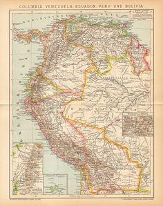 1894 Original Antique Map of Colombia Venezuela Ecuador