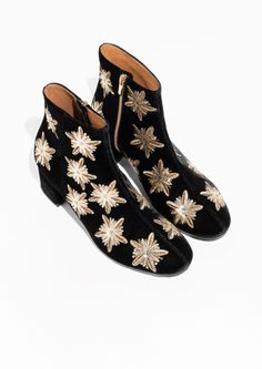 Sequin Velvet Boots in Black
