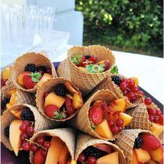 New Fruit Cups Ideas Waffle Cones Ideas Fruit Appetizers, Wedding Appetizers, Fruit Snacks, Fruit Salads, Wedding Snacks, Healthy Snacks, Fruit Kabobs, Fruit Drinks, Wedding Desserts
