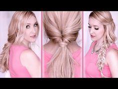 Tuto coiffures pour l'école/travail ★ Queue de cheval torsadée + Chignon +Tresse - YouTube