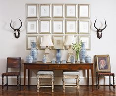 antler wall display and pic frames