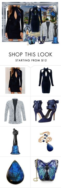 """""""blue velvet"""" by snowmoon ❤ liked on Polyvore featuring WithChic, Samya, Alice + Olivia, Anna Sui and Judith Leiber"""