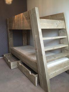 Steigerhouten bedden | Stapelbed, 1 of 2 persoons bed van steigerhout