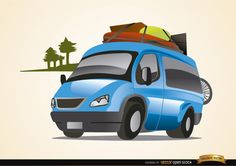 Vector of a blue van auto traveling on vacations, with some luggage on top; there is a little silhouette of a pine forest behind the van. It's a nice vector to use in promos related to travel and vacations. High quality JPG included. Under Commons 4.0. Attribution License.