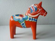 XL Dalapferd Dalarna Pferd orange 42 cm groß Olsson Schweden Äkta Hemslöjd 70er