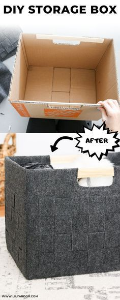 Storage Box from a cardboard box! : How to transform you old cardboard boxes into super cute felt storage bins. DIY Storage Box from a cardboard box! : How to transform you old cardboard boxes into super cute felt storage bins. Recycling Storage, Diy Storage Boxes, Decorative Storage Bins, Diy Storage For Clothes, Cheap Storage Bins, Storage Organization, Recycling Boxes, Storage Ideas, Bin Storage