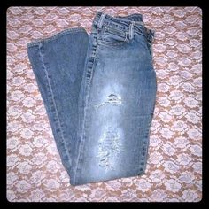 Distressed levi strauss jeans Very cute levi distressed and bleached jeans. Jeans are gently used make me a resonable offer;) levis Jeans Straight Leg