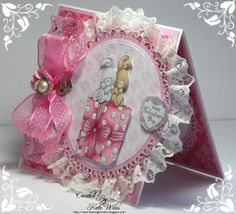 Wild Rose Studio Valentine Card, with the image of bunnies on present and those Always and Forever papers