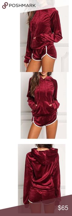 Burgundy velvet tracksuit with shorts and hoodie Two piece velvet track suit with dolphin shorts and hoodie. This matching set has a sport stripe down the side of the shorts and is made of very soft stretchy fabric! Just have lounge wear! Tops Sweatshirts & Hoodies