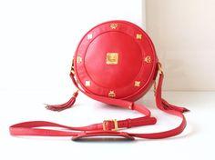 MCM Bag Tambourine Red Leather shoulder handbag authentic vintage by hfvin on Etsy  #MCM #Bag #Tambourine #Red #Leather #shoulder #hfvin