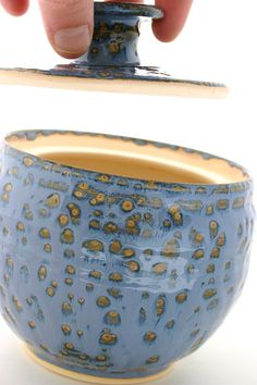ceramic. love how the pot is spotted, and you can see some of the pot underneath. so cool. want to make a pot like this!