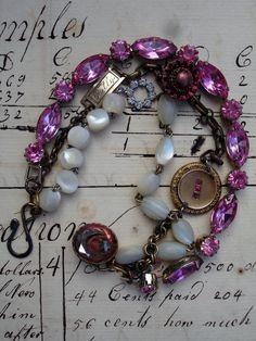 3 Strands Bracelet in Pinks. $130.00, via Etsy.