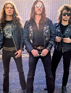 "Motorhead, the classic lineup: Lemmy Kilmister, ""Fast"" Eddie Clarke and Philthy Phil 'The Animal"" Taylor"