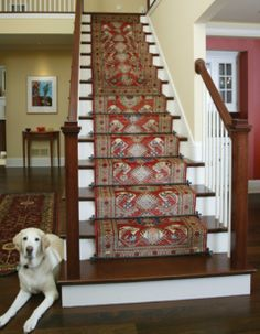 Red stair runner.