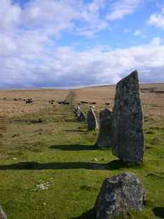 Down Tor stone row in  Dartmoor, South Devon, UK. Devon is next to, but not part of Cornwall.  The Celtic heritage of Devon, however, is strongly tied to Cornwall