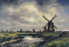 Arnout Colnot, Poldermolens in de Schermer (1931) Special Pictures, Windmill, Painting, Art, Art Background, Painting Art, Kunst, Paintings, Performing Arts
