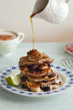 Vegan banana and blueberry pancakes from Anna Jones. It's the healthy pancake recipe you've been looking for.