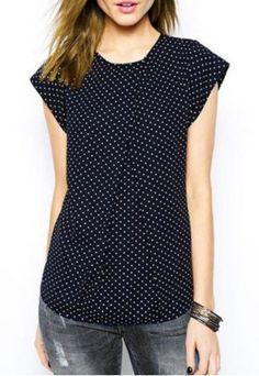 Fashionable Jewel Neck Short Sleeve Polka Dot T-Shirt For Women
