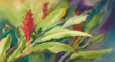 """Original watercolor painting titled """"Evening Fire"""" of red ginger lit by the evening sun on Maui. See The Sun, Maui, Giclee Print, Watercolor Paintings, Fire, Fine Art, Tropical Paintings, Evening Sun, Drawings"""