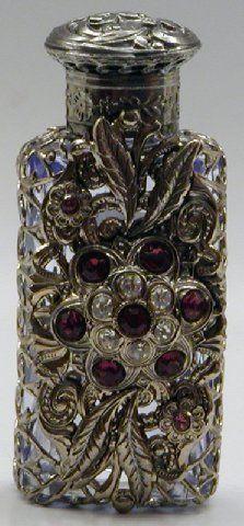 Czech handmade jeweled filigree perfume bottel