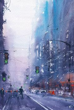 Illustration by Emil Kerie Urban Landscape, Landscape Art, Landscape Paintings, Landscapes, Watercolor City, Watercolor Landscape, Tableaux D'inspiration, City Painting, Painting Abstract