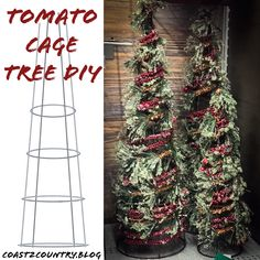 DIY Christmas Trees for every space & style 🎄 – Coast to Country Tomato Cage Christmas Tree<br> Porch Christmas Tree, Simple Christmas, Christmas Lights, Tomatoe Cage Christmas Tree, Primitive Christmas Tree, Christmas Wreaths, Tomato Cage Crafts, Tomato Cages, Easy Christmas Decorations