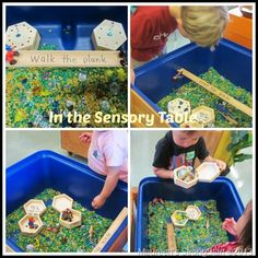 """Pirate play in the sensory tub from StrongStart ("""",)"""