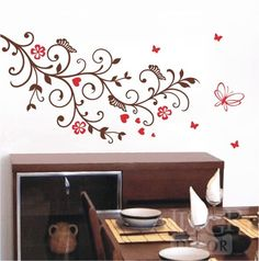 Esse adesivo é simplesmente deslumbrante! É muito delicado. Para adesivar em sua casa, ou dar de presente... Ele vai encantar em qualquer ambiente: no quarto, na cozinha, na sala...   Pode ser aplicado na parede na horizontal ou vertical Tamanhos maiores:  102cm x 63cm - R$ 92,00 120cm x 76cm - R$ 107,00  As borboletas vão soltas, você adesiva como quiser, longe ou perto do galho. Esse adesivo tem 2 cores: veja a tabela de cores e encomende o produto nas cores de sua preferência.  Disponível…