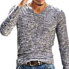 Mens Casual Solid Slim Fit Long-Sleeved V-Neck T-shirt on sale-NewChic Mobile