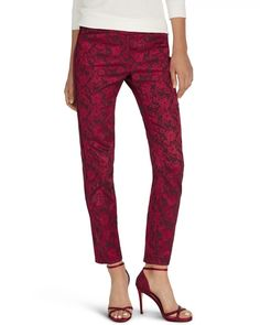 Womens Jacquard Slim Ankle Pants by White House Black Market from White House | Black Market