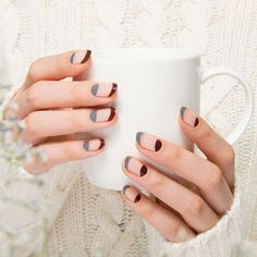 Combination of normal and reversed french manicure in burgundy red and grey