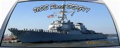 USS Ross is DDG71 a US Navy destroyer ship on a rear window graphic mural.