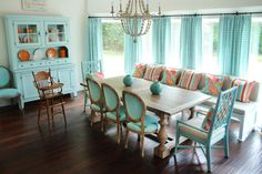 House of Turquoise: Colordrunk Designs I love THIS layout for a casual yet functional dining area! Dining Room Design, Dining Area, Dining Rooms, Kitchen Design, Dining Table, Coastal Inspired Kitchens, Turquoise Curtains, Sweet Home, House Of Turquoise